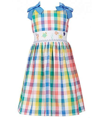 Blue Smocked Dress (Bonnie Jean Girls Under The Sea Plaid Smocked Sundress (0m-6x) (12 Months))