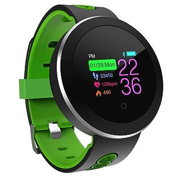 Four Fitness Tracker con Podómetro Ritmo Cardíaco Tensiómetro De La Actividad De La Mano Tracker para Android Y iOS Niños Y Hombres De Teléfono Móvil,Green: ...
