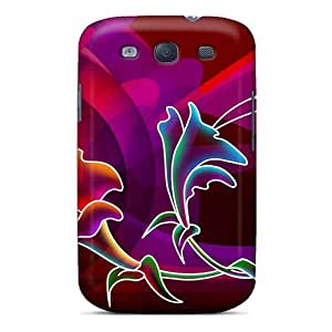 Anti-scratch And Shatterproof Purple Hibiscus Phone Case For Galaxy S3/ High Quality Tpu Case