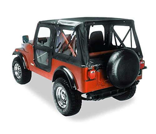 Bestop 51117-01 Black Crush Replace-A-Top Soft Top Clear Windows w/Upper Door Skins for 1976-1983 Jeep CJ-5