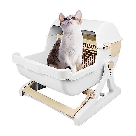 ZZ Cat litter Tray Bandeja de Basura para Gatos, Material de PP Semiautomático semiacerrado Evita