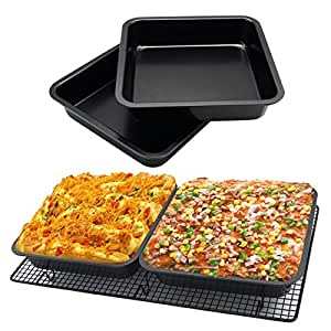 Farmerly 8 Inch Square Carbon Steel Cake Baking Pan Non Stick Bakeware Pizza BBQ Bake Tray Dish Flat Muffin Cakes Bake Pans Drop Shipping : United States