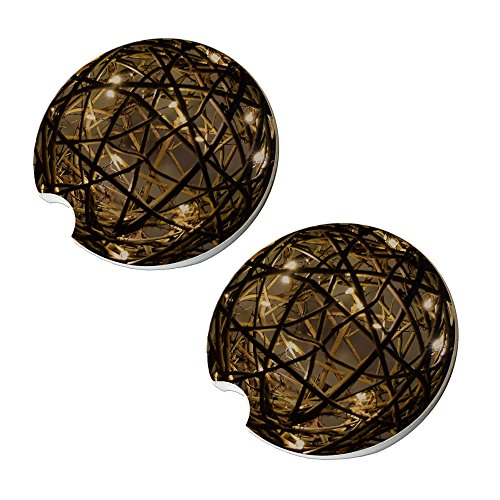 Sandstone Sphere - Glowing Lights Wood Sphere Car Coasters - Round Sandstone Car Coaster Set