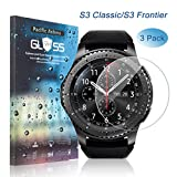 (US) [3-Pack] Pacific Asiana Samsung Gear S3 Thin Screen Protector, Gear S3 Classic/Gear S3 Frontier HD Clear Ballistic Tempered Glass Screen Protector, 9H/Scratchproof/Bubble Free Smart Watch Skin Cover