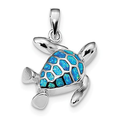 925 Sterling Silver Blue Inlay Created Opal Turtle Pendant Charm Necklace Sea Life Fine Jewelry Gifts For Women For -