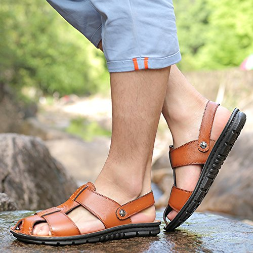 Sandals Men's SLJ Summer Yellow Fisherman Sandal Leather Casual fYf8wA