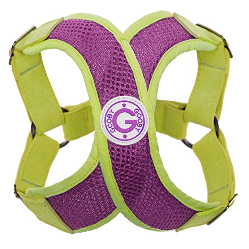 Gooby Choke Perfect Fit Active X Step-In Synthetic Lambskin Soft Harness for Dogs, Medium - Purple/Green
