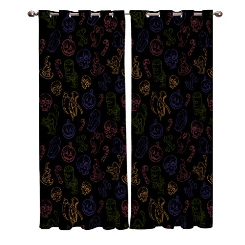 (BABE MAPS 2 Panel Set Blackout Curtains Halloween Hand Painted Skull Pumpkin Ghost Darkening Window Curtain Thermal Insulated Grommet Drape Panels for Living Room and Bedroom)