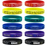 (12-pack) Colorful Bible Wristbands - Wholesale Pack of Silicone Bracelets in Mixed Adult Sizes for Bulk Christian Gifts and Party Favors