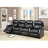 Elements International Cecille 4 Piece Home Theater Power Recliner Set
