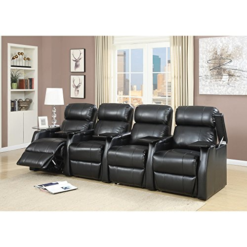 Elements International Cecille 4 Piece Home Theater Power Recliner Set by Elements