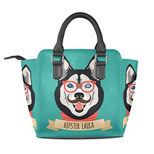 Bennigiry Rivet Purse Women's Cartoon Bag Tote PU Leather Dog Bag Husky Shoulder apT17naq