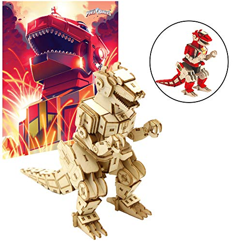 IncrediBuilds Mighty Morphin Power Rangers T-Rex Dinozord Poster and 3D Wood Model Kit - Build, Paint and Collect Your Own Wooden Model - Green Ranger - Great for Kids and Adults,12+ - 5 h