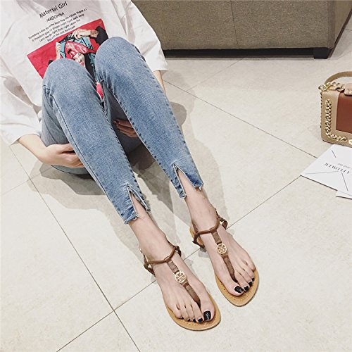 Type Casual JUWOJIA Buckles Simple Buckle Sandals Joker Metal Women's negro New Sandals T Toe Summer wwPHI1xq