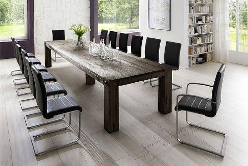 Solid Oak Dining Room Set Table 400 X120 Cm With 14 Schwingern Leather Black Amazon De Kuche Haushalt