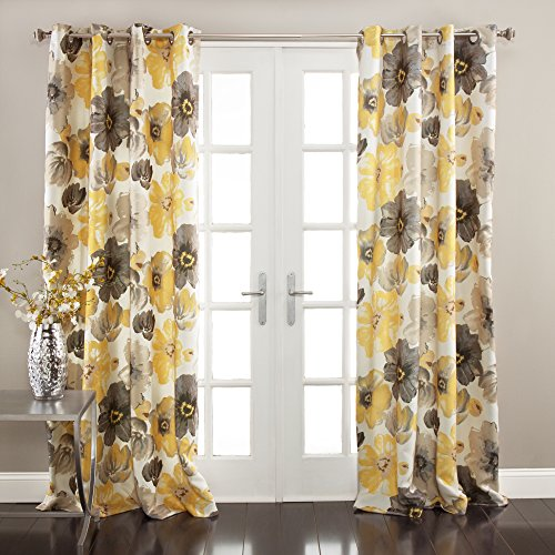 Lush Decor Leah Floral Darkening Yellow and Gray Window Curtain Panel Set for Living, Dining Room, Bedroom (Pair), 84