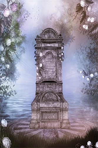 River Tombstone 3x5ft Lfeey Vinyl Cry White Flower Photography Background Backdrops Heaven Scenery Studio Photo Props 1(width)x1.5(height) Customized THIN (Cartoon Tombstone)