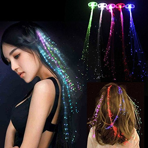 15 Pack Fiber Optic LED Hair Lights, LSQSELLER 7 Color Changing Flashing Light-up Hair Braid Barrettes Toys for Party, Bar Dancing Nightclub Rave Halloween and Birthday.
