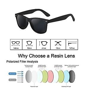 wearPro Wayfarer Sunglasses for Men Women Vintage Polarized Sun Glasses WP1001(matte/black)