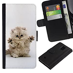 EuroCase - Samsung Galaxy S5 Mini, SM-G800, NOT S5 REGULAR! - Cute Cat Kitten Invisible Enemy - Cuero PU Delgado caso cubierta Shell Armor Funda Case Cover