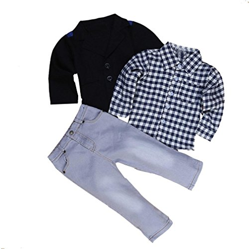 Baby Boy's Clothes, Mchoice 1Set Kids Boys Business Suit+Shirt Tops+Trousers Children Clothes Outfits (6~7 Years old, Black) by MChoice (Image #2)