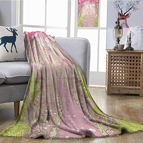 Zmcongz Beach Blanket Teen Girls Decor Collection Path to The Fairy Tale Princess Castle in Fantasy Forest Landscape Artwork Print All Season Blanket W51 xL60 Green Beige Pink]()