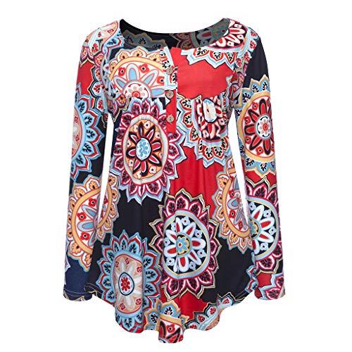 con T ed maniche maniche Primavera bottoni Slyar 2019 sexy Arancione lunghe stampa shirt a T lunghe estate a Plus shirt Donna con 6wrA4qf6Sn