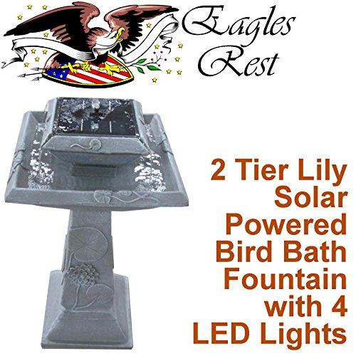 [Monticello 2 Tier Lily Solar BirdBath and Fountain SBB005] (2 Tier Solar Birdbath Fountain)