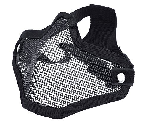 ArcEnCiel Tactical Airsoft Steel Metal Mesh Half Face Mask (Black)
