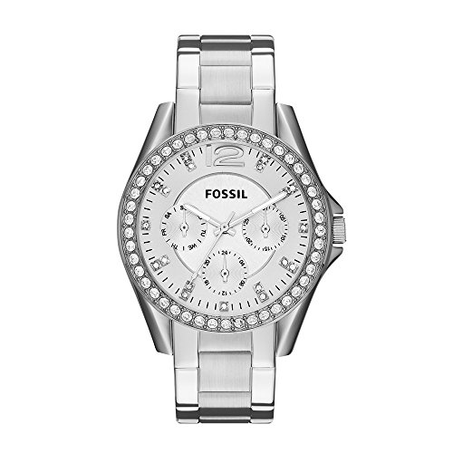 Fossil Women's Riley Quartz Stainless Steel Chronograph Watch, Color: Silver (Model: ES3202) (Ladies Two Tone White Dial)