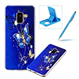 Soft TPU Case for Samsung Galaxy A8 Plus 2018,Shock-Absorbing Rubber Case for Samsung Galaxy A8 Plus 2018,Herzzer Stylish Slim Fit Golden Butterfly Pattern Shockproof Scratch Resist Flexible Silicone Back Cover