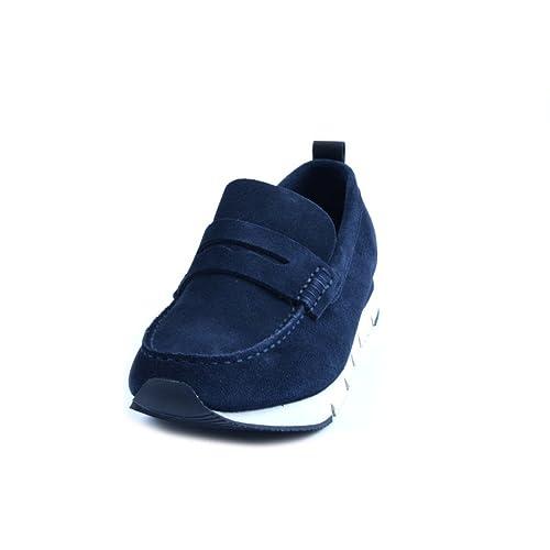 Mocasines Calvi Klein de hombre de ante azul. Forro interior de piel. Fondo con asiento de goma logata antideslizante. negro Size: 42: Amazon.es: Zapatos y ...