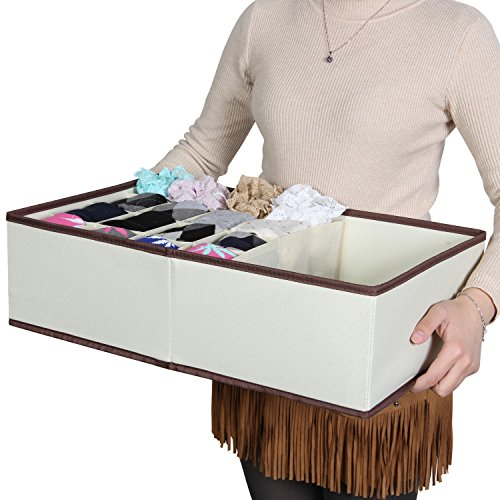 Lifewit Closet Underwear Organizer Drawer Divider for Bras Socks Ties Scarves, Beige (Underwear And Socks)