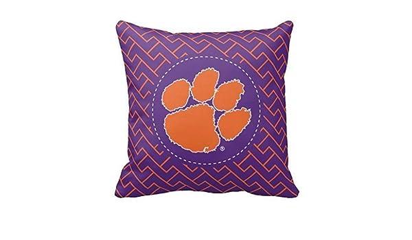 FFJPL Clemson University Tiger Linen Throw Pillow Case Cushion Cover Home Sofa Decorative 18x18 inch