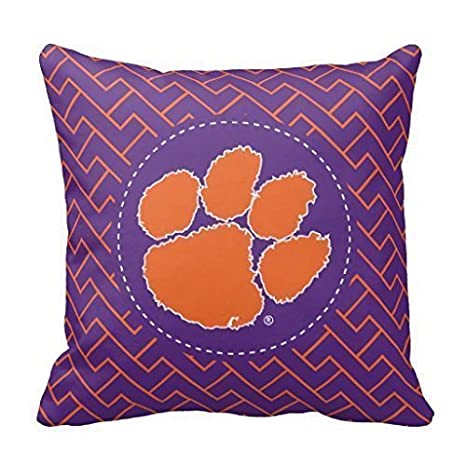 FFJPL Clemson University Tiger Linen Throw Pillow Case Cushion Cover Home Sofa Decorative 18x18 inch