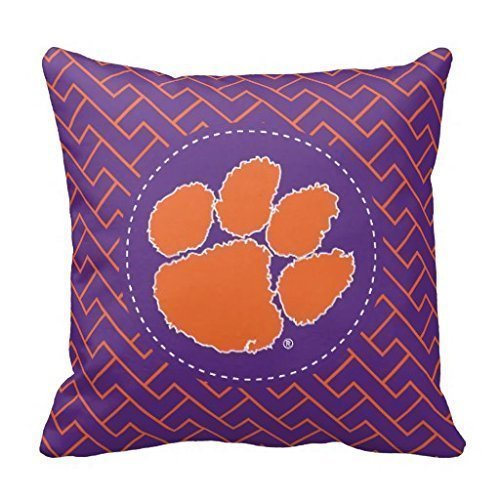 FFJPL Clemson University Tiger Linen Throw Pillow Case Cushion Cover Home Sofa Decorative 20x20 inch