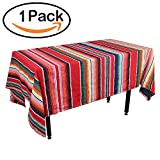 Zdada 1Pack Rectangular Mexican Decorations Tablecloth Serape Table Cloth 57x102inch Outdoor Party Cotton Mexican Blanket Table Cover