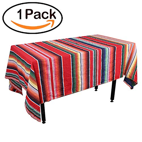 Zdada 1Pack Rectangular Mexican Decorations Tablecloth Serape Table Cloth 57x102inch Outdoor Party Cotton Mexican Blanket Table Cover by Zdada