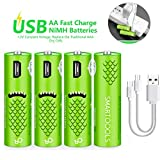 USB Rechargeable AA Batteries, Rechargeable Batteries - Cell 1.2V / 1000mAH - High-Capacity