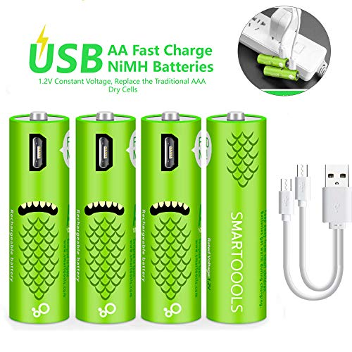 USB Rechargeable AA Batteries, Rechargeable Batteries - Cell 1.2V / 1000mAH - High-Capacity Batteries Long-Lasting Power Recyclable Recharge Battery-(4 Count) ()
