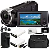 Sony HDR-CX405 HD Handycam Camcorder 8PC Accessory Bundle – Includes 2X Replacement Batteries + AC/DC Rapid Home & Travel Charger + 64GB MicroSD Memory Card + MORE