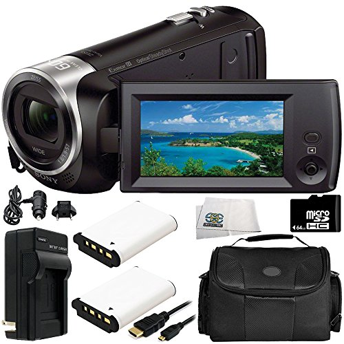 Sony HDR-CX405 HD Handycam Camcorder 8PC Accessory Bundle – Includes 2X Replacement Batteries + AC/DC Rapid Home & Travel Charger + 64GB MicroSD Memory Card + ()