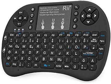 Rii Mini i8 + (Revisión 2015) Negro/Blanco Con Fondo – Mini teclado inalámbrico con Multi Touch