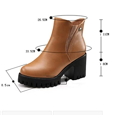 ❤ Botas Impermeables de Invierno para Mujeres, Zapatos de tacón Alto para Mujer Martain Boot Cuero Color sólido Punta Redonda Zapatos de Cremallera ...