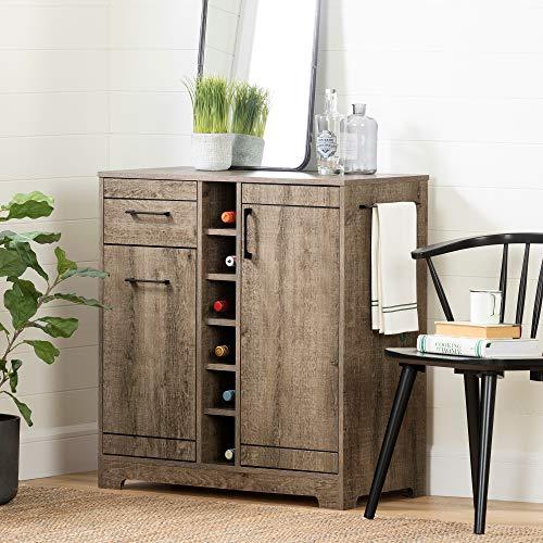 (South Shore 12331 Vietti Bar Cabinet and Bottle Storage-Weathered Oak)