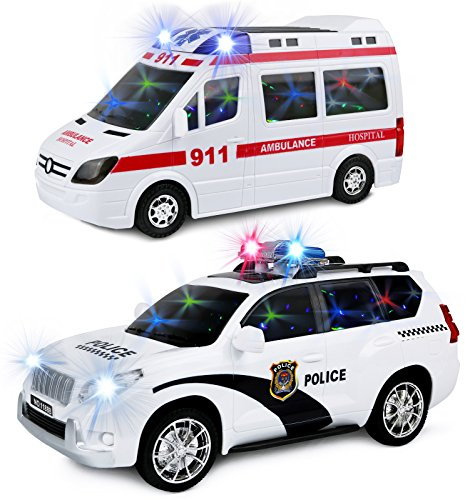 Kiddie Play Battery Operated Bump and Go Toy Ambulance and Police Car Play Set for Kids with Siren and Flashing Lights
