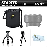 Starter Accessories Kit For The Sony QX1 Smartphone Attachable Compact System Camera Includes Neoprene Soft Lens Carrying Case + 7 Flexible Tripod + Mini TableTop Tripod + MicroFiber Cleaning Cloth