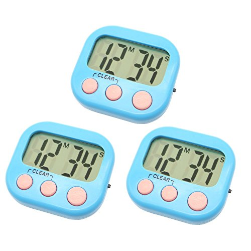 3 Pack Digital Kitchen Timer Magnetic Back Big LCD Display Loud Alarm Minute Second Count Up Countdown With ON/OFF Switch For Kitchen, Homework, Exercise, Game(3 Blue) by VOULOIR