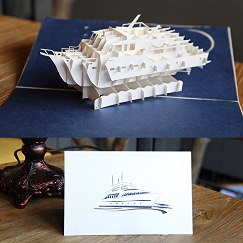 LAYs 3D Pop Up Yacht Greeting Card Handmade Paper Card for Party Birthday Invitation ()
