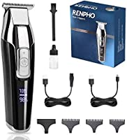 Hair Clippers for Men, RENPHO Cordless Clippers Hair Trimmer,Hair and Beard T-blade Electric Shaver for Home, 4-Speed...